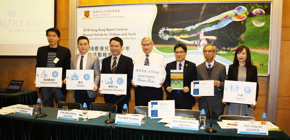 CUHK releases 2018 Hong Kong Report Card on Physical Activity for Children and Youth - Making Comparisons with 48 Countries and Regions Around the World